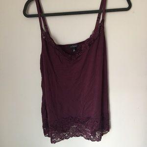 Purple grape lace trim v neck tank top limited